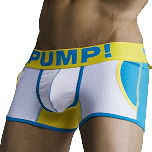 PUMP! -  Boxer  - Uomo Weiß - Blanc / Bleu / Jaune S