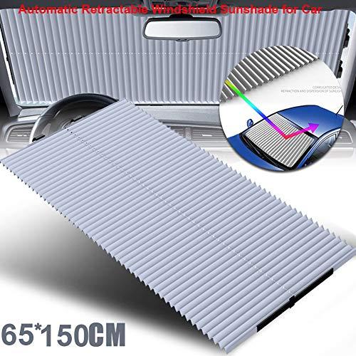 (KELYNN Windshield Sun Shade Automatic Retractable Foldable Car Windows Sun Shade for Windshield SUV Car Truck Sunshade)