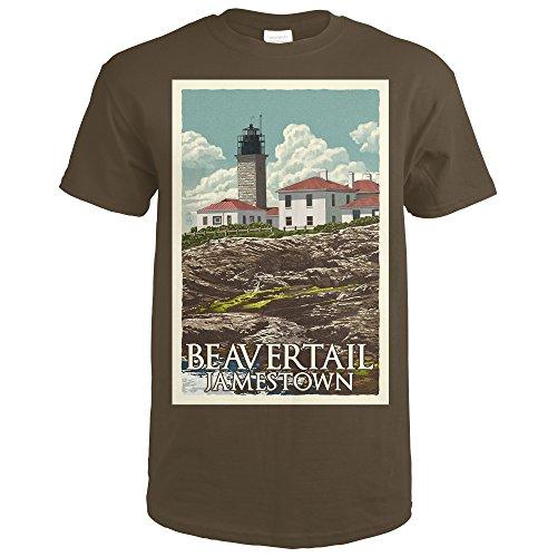 Jamestown, Rhode Island - Beavertail Lighthouse - Letterpress (Dark Chocolate T-Shirt X-Large) (Lighthouse T-shirt Island)