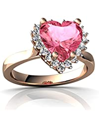 14kt Gold Lab Pink Sapphire and Diamond 8mm Heart Halo Heart Ring