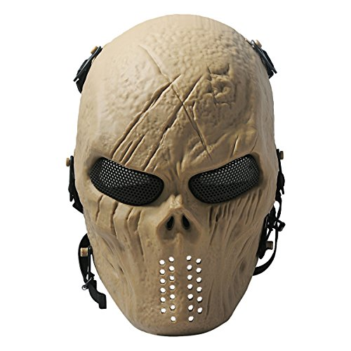 Scary Skull Mask (Coxeer Airsoft Mask Scary Skull Outdoor Full Face Mask with Mesh Eye Protection)