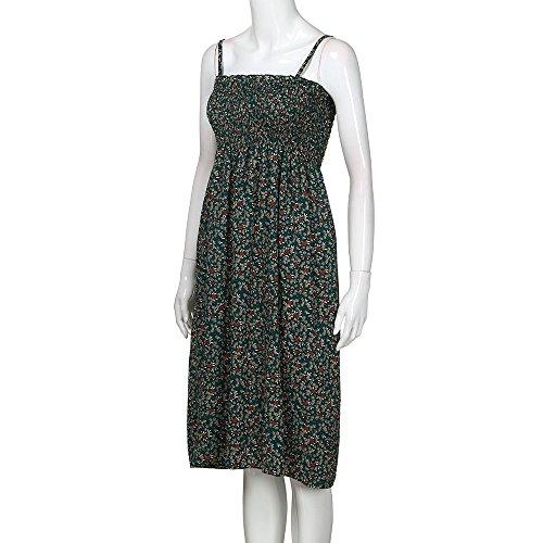 Les Femmes Débardeurs Robes En Vente Dame Florale Soirée Sans Manches Boho Balançoire Robe Verte