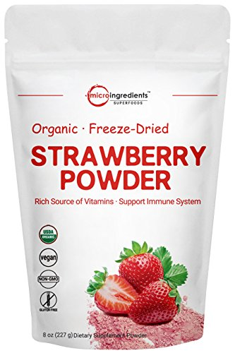 Freeze Dried Strawberries - Organic Strawberry Freeze Dried Powder, 8 Ounce, Rich in Multivitamins and Antioxidants, Best Super Foods for Smoothie & Beverage Blend, Non-GMO and Vegan Friendly