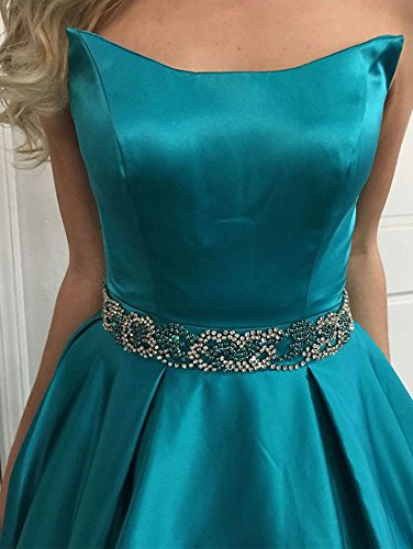 Strapless Beaded Gown Long Waist Homecoming Prom Satin Evening 2018 Dressylady Silver Dress 16w5Rx