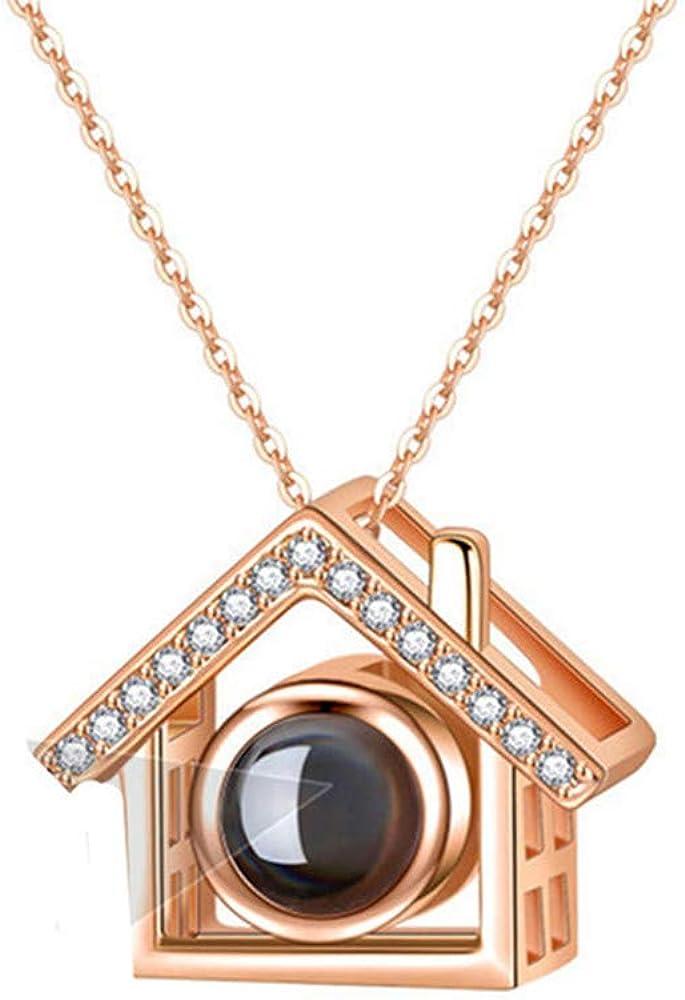 Y.verve Collar De Fotos Personalizado para Mujer Collar Personalizado Colgante De Casa Collar De Proyección 100 Idiomas Te Amo
