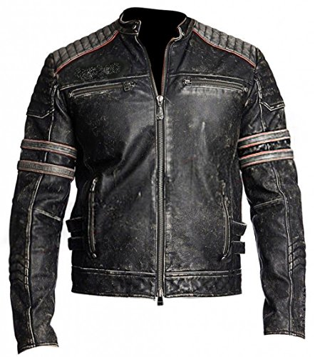 Red Piumino Leather Retro Uomo Giacca Real C Smoke 1 rPwOSqRr