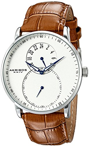 Akribos XXIV Men's AK847SSBR Dual Time Silver-Tone Watch with Brown Leather Strap