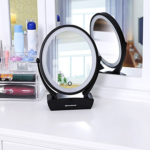 SONGMICS LED Lighted Desktop Makeup Mirror 1x/5x Two-Side Swivel Magnifying Cosmetic Mirror w/ Drawer UBBM01B 80%OFF