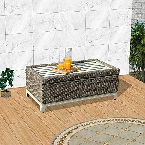 Orange Casual Outdoor 3 in 1 Resin Wicker Storage Bench Box with Seat Cushion, Aluminum Frame, Gray Rattan and Blue Cushion