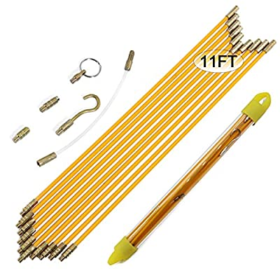 Boeray Fiberglass Running Electrical Wire Cable Pulling Fish Tape kit with 5 different attachments in a Carrying Case