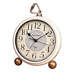 5.5 Antique Glass Mantel Small Decorative Desk Clocks,Vintage Silent Quartz Analog Large Numerals Clock,Non Ticking,Battery Operated (Best for Elder)