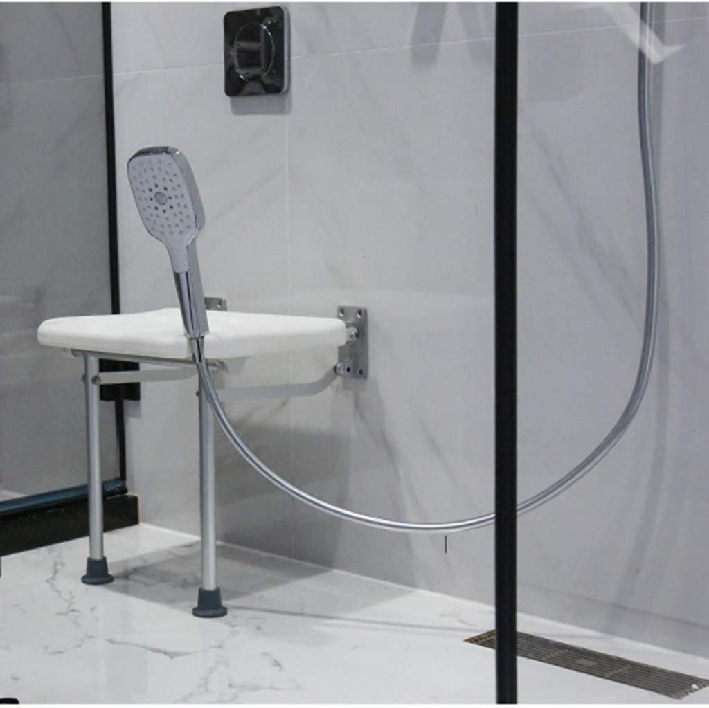 DWW Foldable Bathroom Shower Seat Wall Mounted Bath Safety Seat Modern Bench Stool - Firm PE Seat Plate with Drainage Hole - Disable, Elderly, Adults 51bSS2ys-cLSL1024_