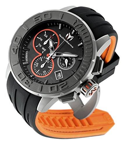 Technomarine Men's 'Reef' Quartz Titanium and Silicone Casual Watch, Color:Black (Model: