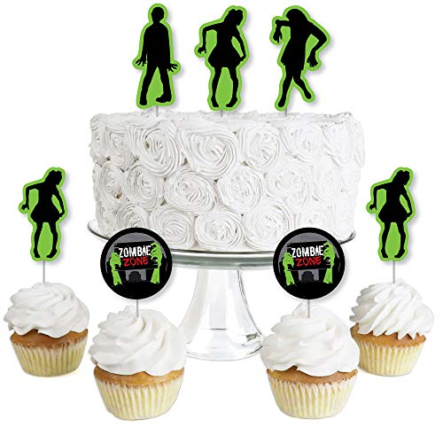 Zombie Zone - Dessert Cupcake Toppers - Zombie Crawl Clear Treat Picks - Set of 24 -