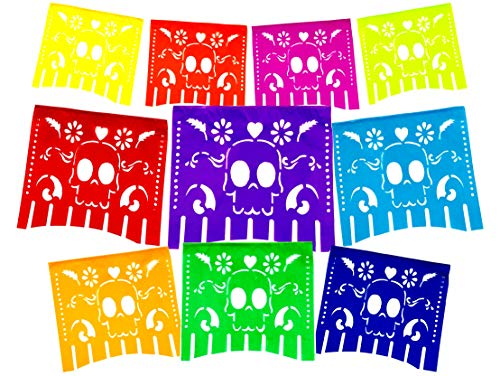 Fiesta Brands 2 Pack Mexican .Colors for The Dead Papel Picado Banner.Vibrant Colors Tissue Paper. Large Size Panels. Multicolored Dia de Los Muertos Sugar Skull Decoration -