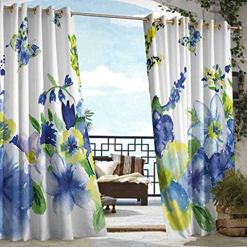DILITECK Window Blind Yellow and Blue Spring Flower Watercolor Flourishing Vibrant Blooms Artsy Design Darkening Thermal Insulated Blackout W72 xL96 Lime Green Royal Blue