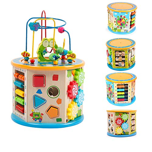 Joqutoys Wooden Activity Cube Multifunction Learning Bead Maze 8 in 1 Educational Toy for Kids Activities Center Small Size