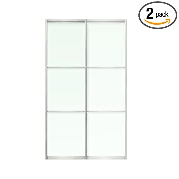 Amazoncom Sliding Bypass Door For Closet 2 Frosted Glass Panels