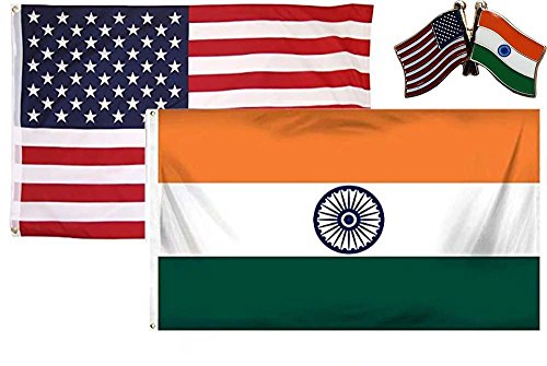 K's Novelties 2 Flag set with matching Pin USA & India Count