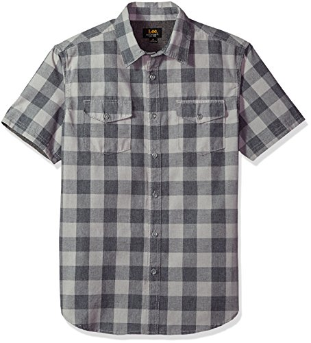 LEE Men's Short Sleeve Woven, Platinum, (2 Pocket Shirt)
