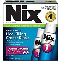 Nix Lice Killing Creme Rinse | Family Pack | Maximum Strength Creme Rinse Kills Lice and Eggs While Preventing Re-Infestation | 2x2 Ounce Bottles