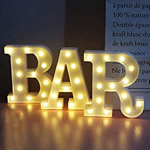 BAR - Illuminated Marquee Bar Sign - Lighted LED Marquee Word Sign - Pre-Lit Pub Bar Sign Light Battery Operated (23.03-in x 8.66-in)