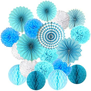 Cocodeko Hanging Set, Tissue Paper Poms Flower Fan and Honeycomb Balls for Birthday Baby Shower Wedding Festival Decorations-Blue, 3 Gram