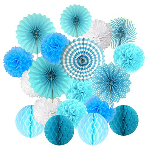 Hanging Paper Fan Set, Cocodeko Tissue Paper Pom Poms Flower Fan and Honeycomb Balls for Birthday Baby Shower Wedding Festival Decorations - Blue