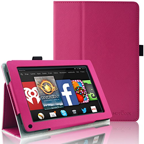 Kindle Fire 1st / 2nd Gen Cover Case - HOTCOOL Slim New PU Leather Case For Amazon Original Kindle Fire 2011 (Previous Gen - 1st) and Kindle Fire 2012 (Previous Gen - 2nd) Tablet, Magenta