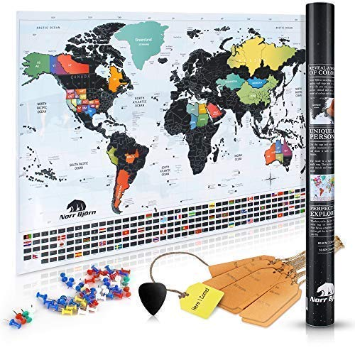 Scratch Off World Map with Tags & Pins | Premium Travel Tracker Wall Poster with Black Foil & Colorful Design | Perfect Gift Idea for Travelers | US States Outlined | Size 34x24 inches