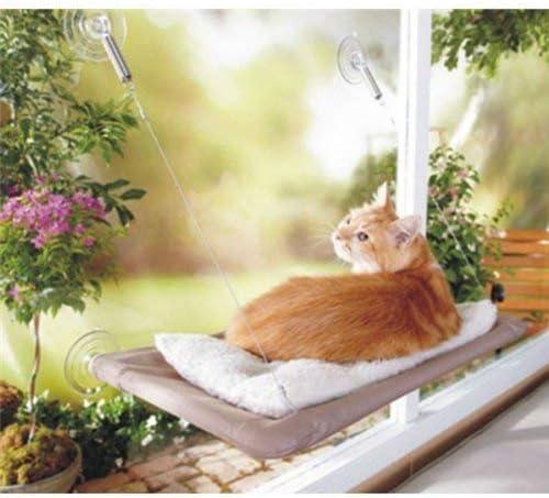 PETPAWJOY Cama para gatos, percha para ventana de gato Asiento de ventana Ventosas Hamaca para gato que ahorra espacio Asiento para descanso de mascotas Estantes para gatos de seguridad - Proporciona un baño de sol de 360 ° para gatos con un peso de hasta 30 lb, bronceado 4