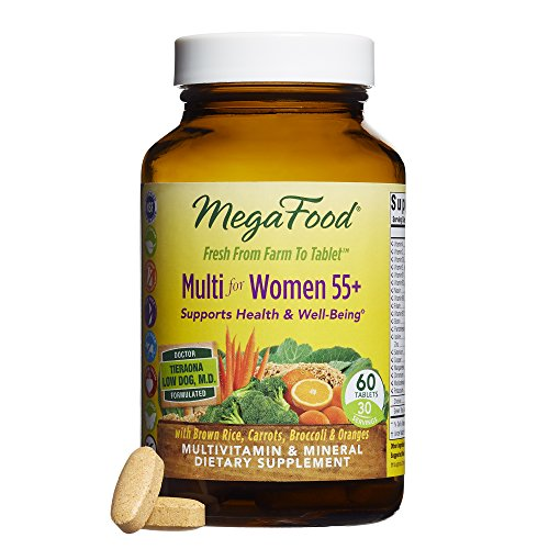 MegaFood - Multi for Women 55+, Multivitamin Support for Cardiovascular and Bone Health, Cognition, and Mood Balance with Methylated Folate and B12, Vegetarian, Gluten-Free, Non-GMO, 60 Tablets (FFP)