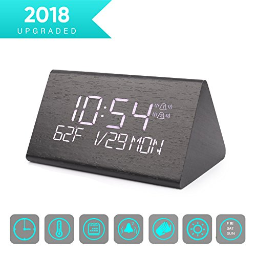 Warmhoming Wooden Digital Alarm Clock with 7 Levels Adjustable Brightness, Voice Command Electric LED Bedside Travel Triangle Alarm Clock, Display Time Date Week Temperature for Bedroom Office Home
