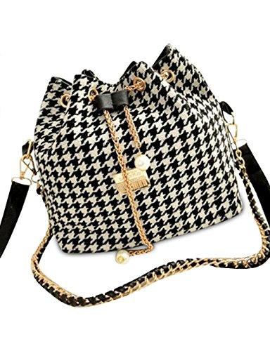 Houndstooth Bucket Shoulder Bag,MOONSUNGEEK Women's Linen Satchel Clutch Handbag Houndstooth