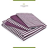 Image of 6-Piece Bed Sheets Set with Stripes by Cosy House - Fade & Lint Free - Soft, Breathable Bamboo and Microfiber Blend Bedding with Deep Pocket Fitted Sheet, Flat Sheet and 4 Pillowcases - Queen, Plum
