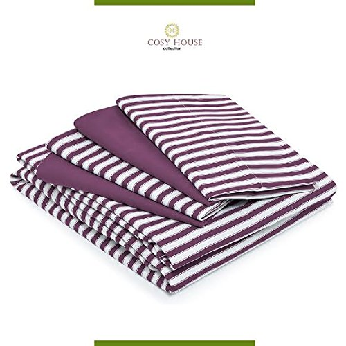 Price comparison product image 6-Piece Bed Sheets Set with Stripes by Cosy House - Fade & Lint Free - Soft, Breathable Bamboo and Microfiber Blend Bedding with Deep Pocket Fitted Sheet, Flat Sheet and 4 Pillowcases - Queen, Plum