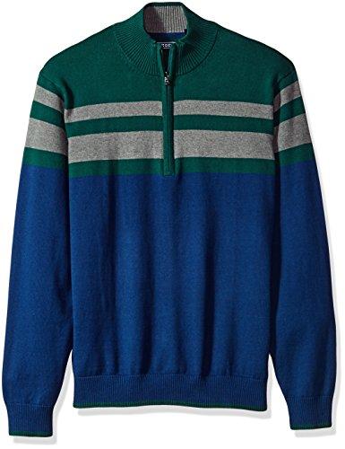 IZOD Men's Fine Gauge Striped 1/4 Zip Sweater, Estate Blue, XX-Large (1/4 Zip Striped Sweater)