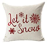 Decorative Pillow Cover - Red Let It Snow Various Beautiful Snowflake Merry Christmas Gift Cotton Linen Decorative Throw Pillow Case Cushion Cover Square 18