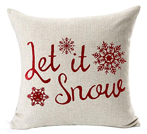 Andreannie Happy Winter Red Let It Snow Various Beautiful Snowflakes Merry New Home Room Decorative Cotton Linen Throw Pillow Case Cushion Cover Square 18 X 18 Inches - Merry Christmas Throw Pillow