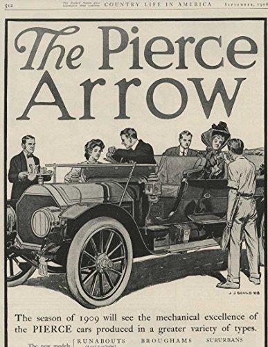 1909 Pierce Arrow Runabout Touring Car Buffalo NY Automobile Magazine Ad (Pierce Arrow Buffalo)