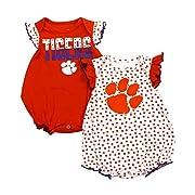 NCAA Clemson Tigers Girls 2 PK Short Sleeve Dotty Bodysuit Set, 3-6 Months