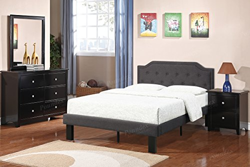 - Modern Ash Black Polyfiber Kids' Twin Bed feathers the arched shaped and accent tufts trimmed with narrow piping headboard