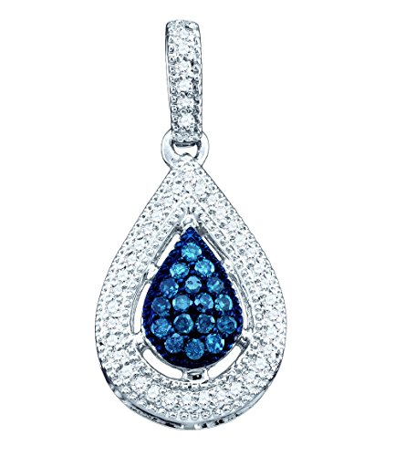 14kt White Gold Womens Round Blue Colored Diamond Teardrop Cluster Pendant 1/5 Cttw (Necklace Gold Drop Cluster 14kt)