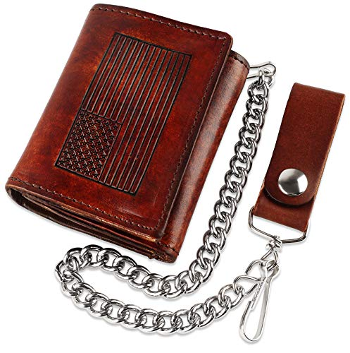 - RFID Blocking Men's Tri-fold Vintage Biker Cowhide Top Grain Leather Steel Chain Wallet,Snap closure, Made In USA,at315-162,flag,brown