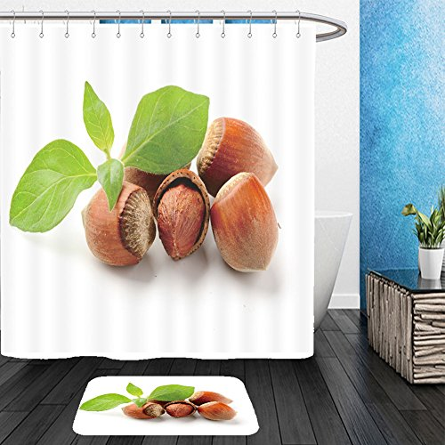 Vanfan Bathroom 2?Suits 1 Shower Curtains & ?1 Floor Mats hazel nuts with leaves on the white background 59829043 From Bath room