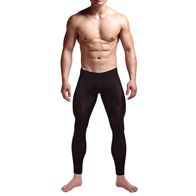 DSstyles Men Ice Silk Stretch Yoga Thin Warm Leggings Lifting Hip Tights Pants