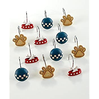 The Lakeside Collection Set Of 12 Playful Dogs Shower Curtain Hooks