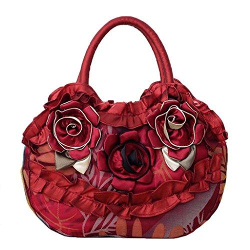 JAGENIE Fleur Femmes Lady Sac Zipper Pocket Toile Simple Casual Sac à Main Shopping Purse Rose Vif Vin Rouge