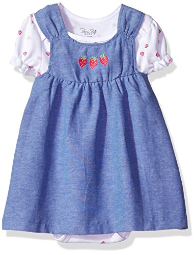 Rene Rofe Baby Baby Girls' Rear Snap Chambray Jumper with S/s Bodysuit, Strawberries, 24 (Girls Chambray Jumper)