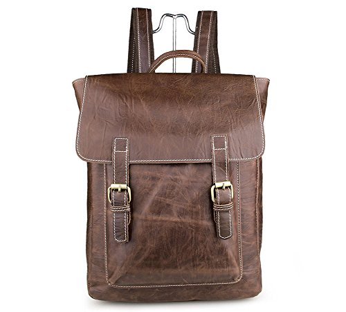 Genda 2Archer Unisex Cow Leather Fashion Outdoor Travel Bag 15 inch Laptop Backpack ()